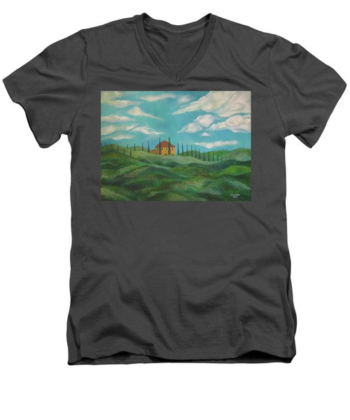 A Day In Tuscany Men's V-Neck T-Shirt by John Keaton