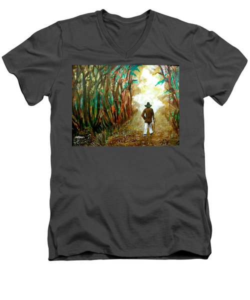 A Fall Walk In The Woods Men's V-Neck T-Shirt