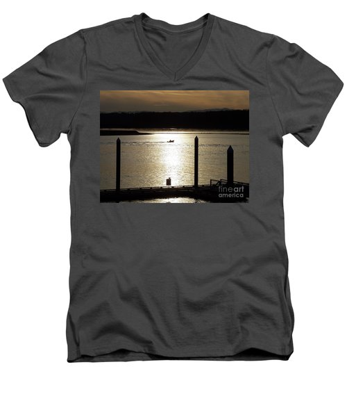 Men's V-Neck T-Shirt featuring the photograph A Lone Boat At Sunset by Chalet Roome-Rigdon