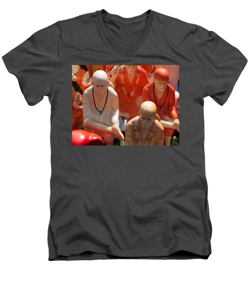 A Number Of Statues Of The Shirdi Sai Baba For Sale At Surajkund Mela Men's V-Neck T-Shirt by Ashish Agarwal