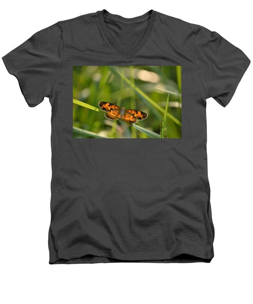 Men's V-Neck T-Shirt featuring the photograph A Pearl In The Grass by JD Grimes