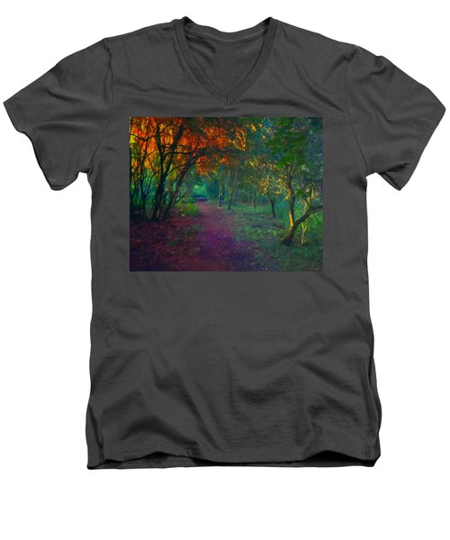 Men's V-Neck T-Shirt featuring the painting A Place Of Mystery by Joe Misrasi