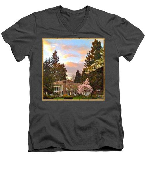A Spring Evening - Lake Oswego Or Men's V-Neck T-Shirt by Anna Porter