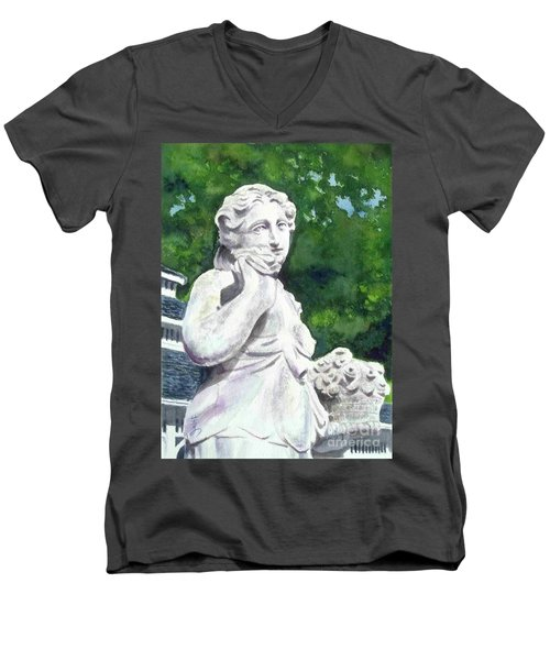 Men's V-Neck T-Shirt featuring the painting A Statue At The Wellers Carriage House -1 by Yoshiko Mishina