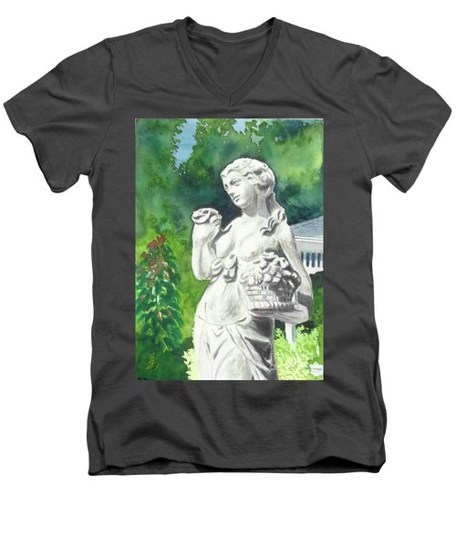 Men's V-Neck T-Shirt featuring the painting A Statue At The Wellers Carriage House -2 by Yoshiko Mishina