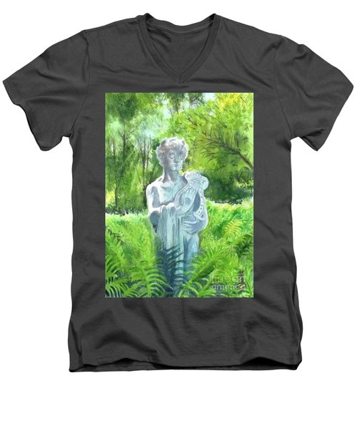 Men's V-Neck T-Shirt featuring the painting A Statue At The Wellers Carriage House -4 by Yoshiko Mishina