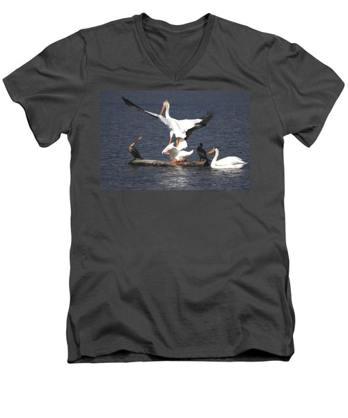 Men's V-Neck T-Shirt featuring the photograph A Step Ahead by Shane Bechler