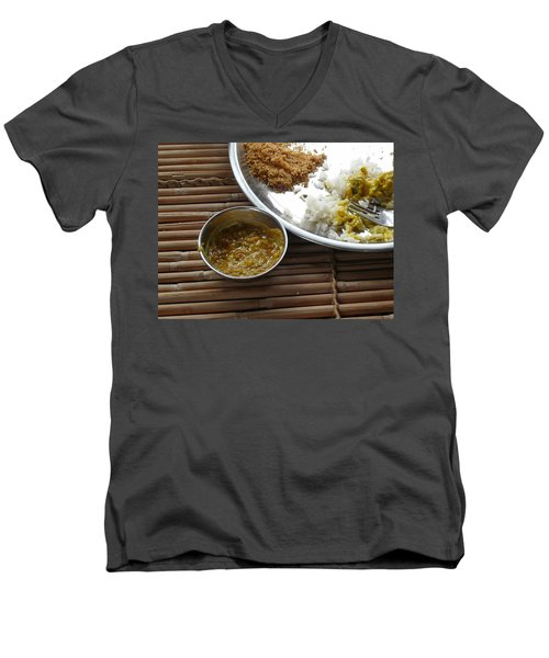 A Typical Plate Of Indian Rajasthani Food On A Bamboo Table Men's V-Neck T-Shirt by Ashish Agarwal