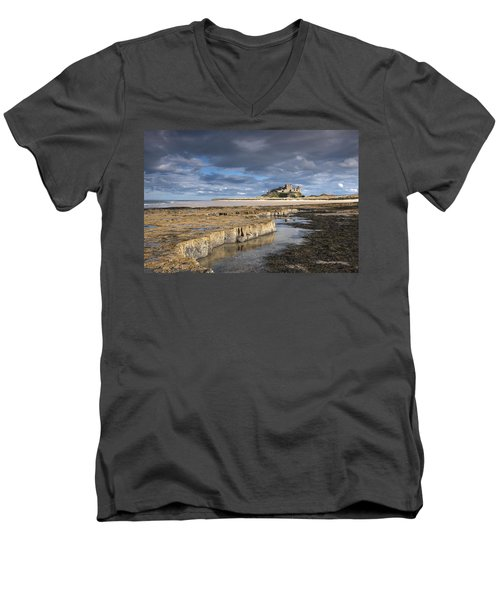 Men's V-Neck T-Shirt featuring the photograph A View Of Bamburgh Castle Bamburgh by John Short
