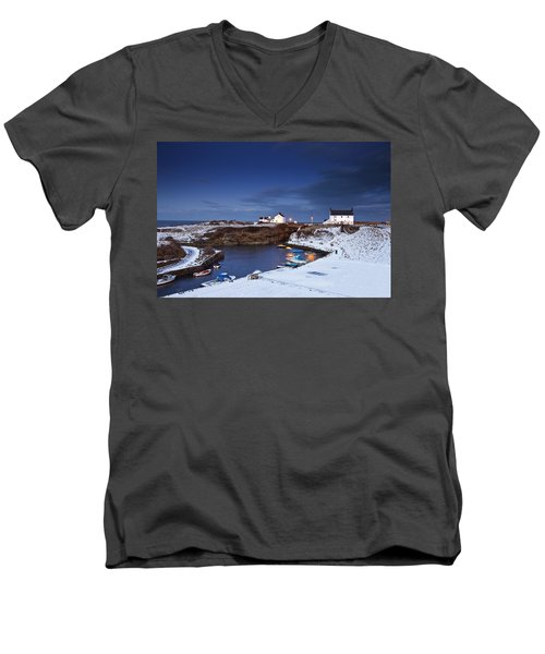 Men's V-Neck T-Shirt featuring the photograph A Village On The Coast Seaton Sluice by John Short