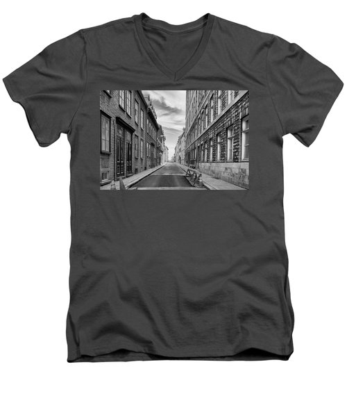 Men's V-Neck T-Shirt featuring the photograph Abandoned Street by Eunice Gibb