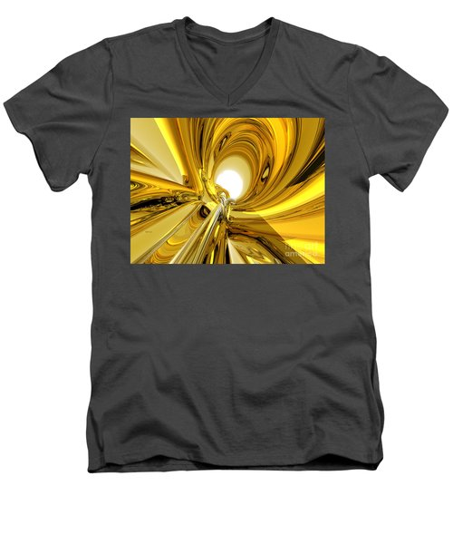 Men's V-Neck T-Shirt featuring the digital art Abstract Gold Rings by Phil Perkins