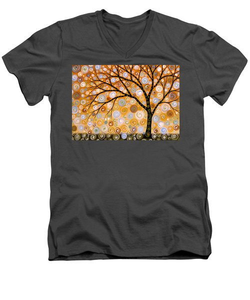 Men's V-Neck T-Shirt featuring the painting Abstract Modern Tree Landscape Dreams Of Gold By Amy Giacomelli by Amy Giacomelli