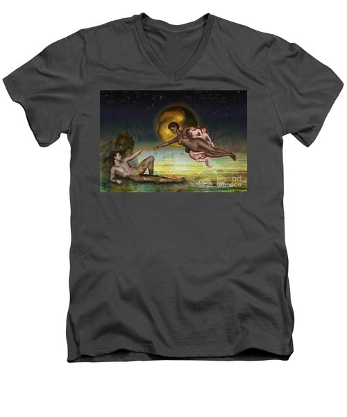 Men's V-Neck T-Shirt featuring the digital art Adam Creation Revisited She Is Black by Rosa Cobos