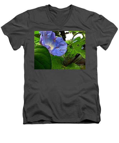 Men's V-Neck T-Shirt featuring the digital art Aging Morning Glory by Debbie Portwood