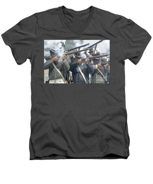 American Infantry Firing Men's V-Neck T-Shirt