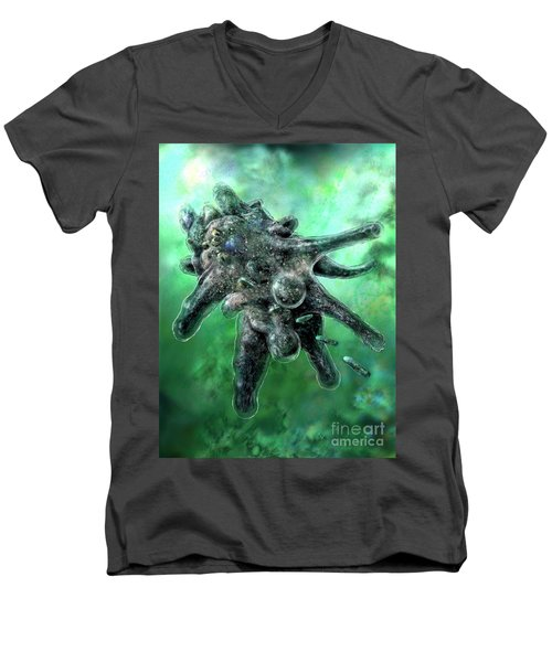 Men's V-Neck T-Shirt featuring the digital art Amoeba Green by Russell Kightley