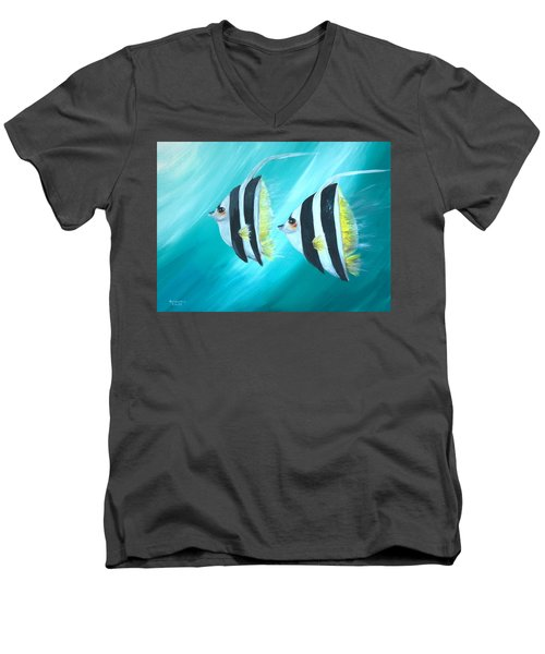 Angel Fish Men's V-Neck T-Shirt by Bernadette Krupa