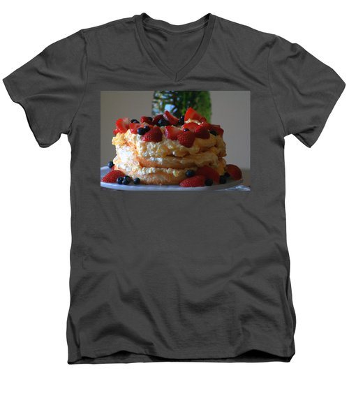 Men's V-Neck T-Shirt featuring the photograph Angel Food by Kay Novy