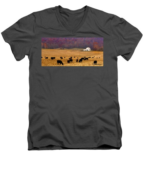 Men's V-Neck T-Shirt featuring the photograph Angus And Oaks  Farm by Randall Branham