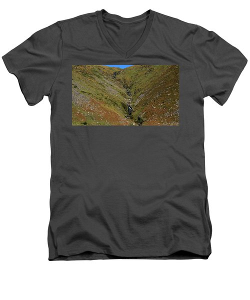 Men's V-Neck T-Shirt featuring the photograph Annascaul Mountains by Barbara Walsh