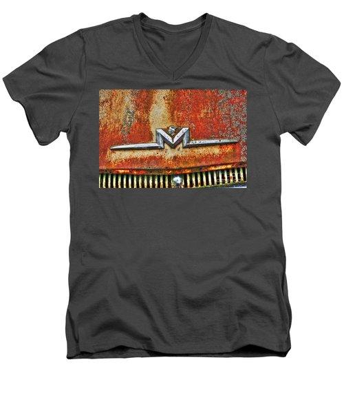 Antique Mercury Auto Logo Men's V-Neck T-Shirt by Dan Stone