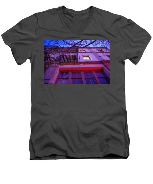 Men's V-Neck T-Shirt featuring the photograph Apartment Building by Marilyn Wilson