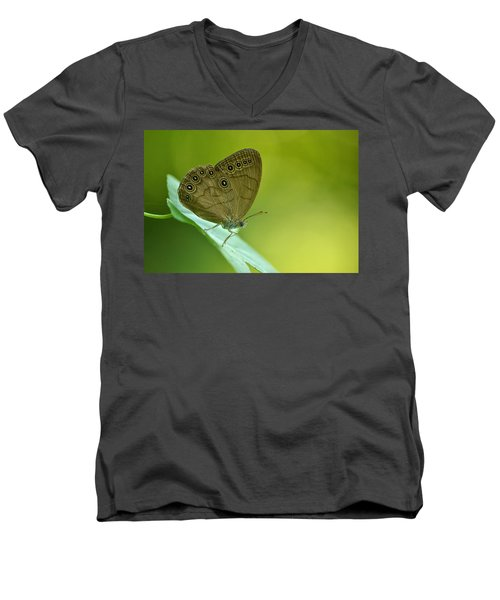Men's V-Neck T-Shirt featuring the photograph Appalachian Brown by JD Grimes