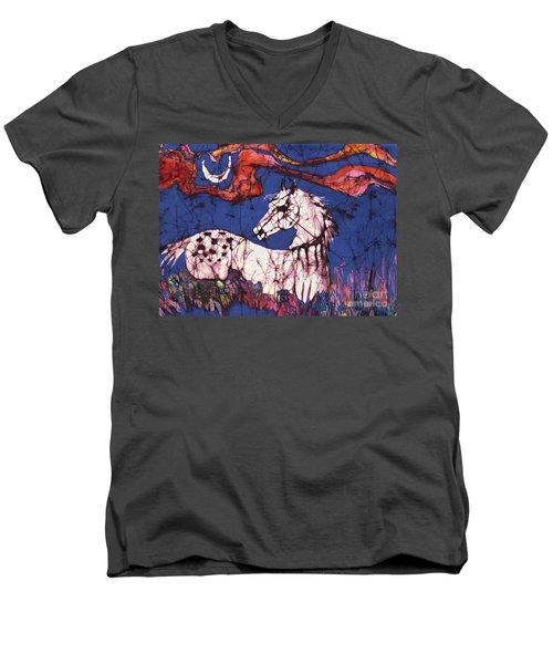 Appaloosa In Flower Field Men's V-Neck T-Shirt