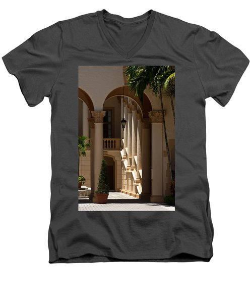Men's V-Neck T-Shirt featuring the photograph Arches And Columns At The Biltmore Hotel by Ed Gleichman