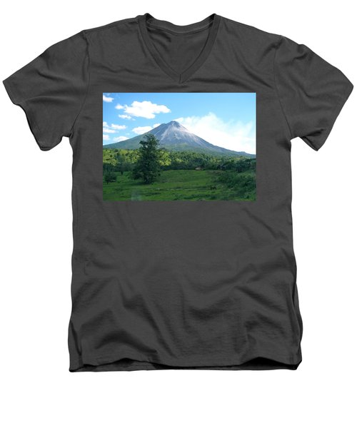 Men's V-Neck T-Shirt featuring the photograph Arenal by Eric Tressler