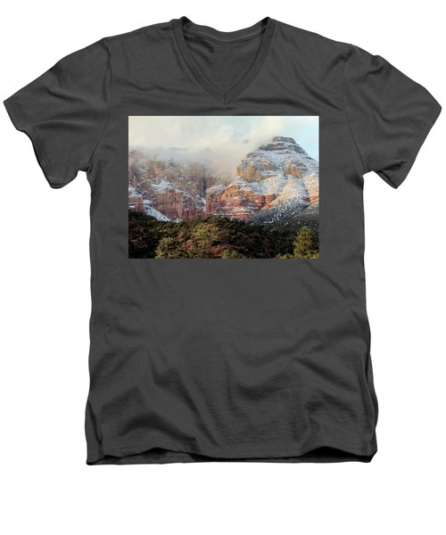 Arizona Snowstorm Men's V-Neck T-Shirt by Judy Wanamaker