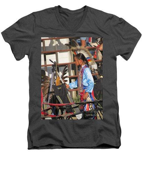 Men's V-Neck T-Shirt featuring the photograph At Blackfeet Pow Wow 03 by Ausra Huntington nee Paulauskaite