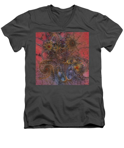 Men's V-Neck T-Shirt featuring the digital art At The Moment by Casey Kotas