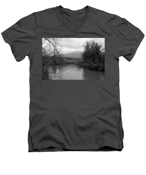 At The River Turn Bw Men's V-Neck T-Shirt