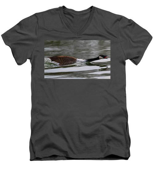 Men's V-Neck T-Shirt featuring the photograph Attack Of The Canadian Geese by Elizabeth Winter