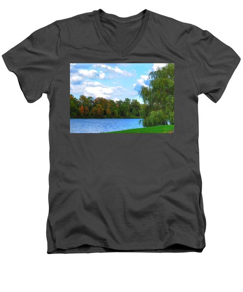 Men's V-Neck T-Shirt featuring the photograph Autumn At Hoyt Lake by Michael Frank Jr