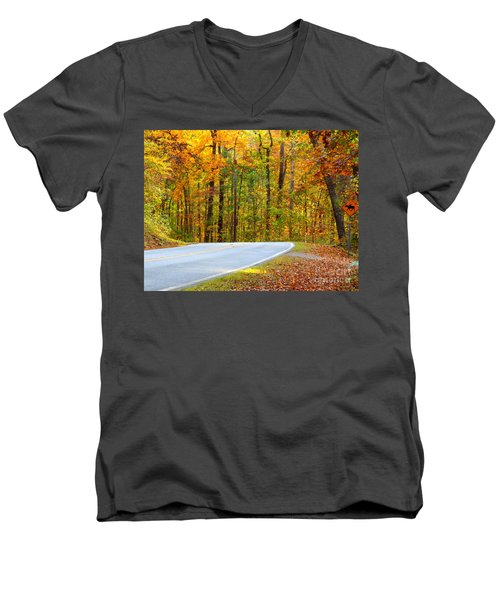 Men's V-Neck T-Shirt featuring the photograph Autumn Drive by Lydia Holly