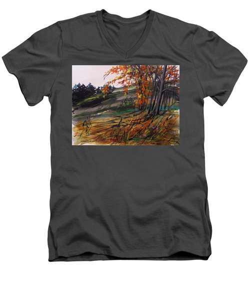 Men's V-Neck T-Shirt featuring the painting Autumn Intensity by John Williams