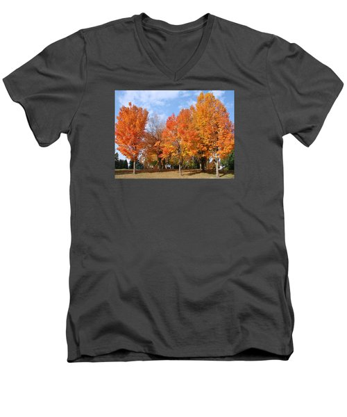 Men's V-Neck T-Shirt featuring the photograph Autumn Leaves by Athena Mckinzie