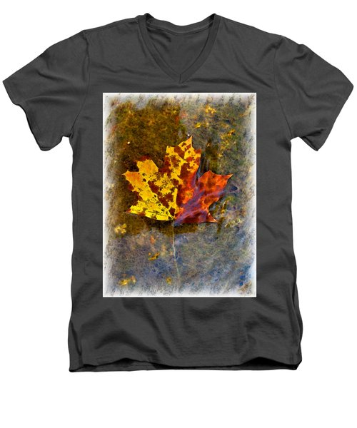 Men's V-Neck T-Shirt featuring the digital art Autumn Maple Leaf In Water by Debbie Portwood