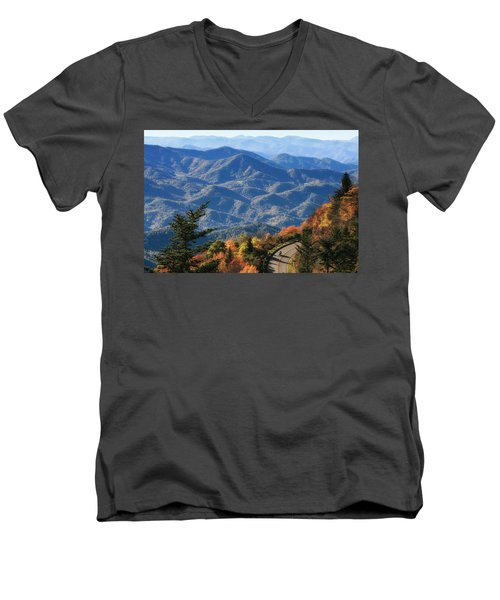 Men's V-Neck T-Shirt featuring the photograph Autumn On The Blue Ridge Parkway by Lynne Jenkins