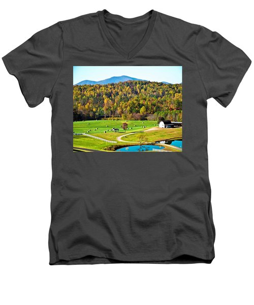 Men's V-Neck T-Shirt featuring the photograph Autumn On The Farn by Susan Leggett