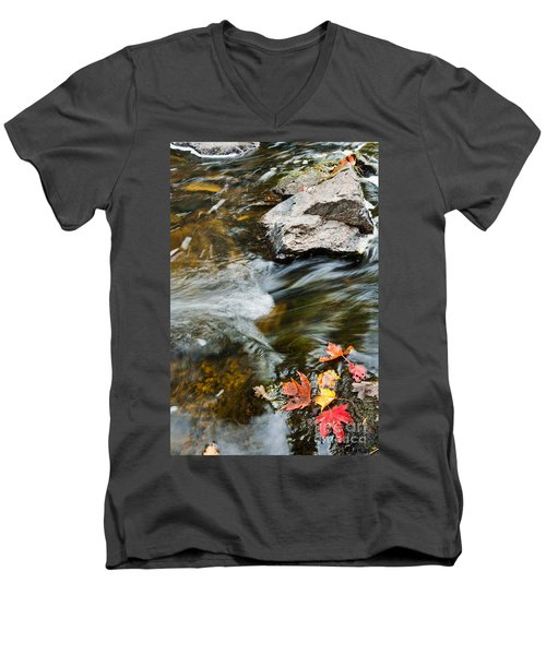 Men's V-Neck T-Shirt featuring the photograph Autumn Stream by Cheryl Baxter