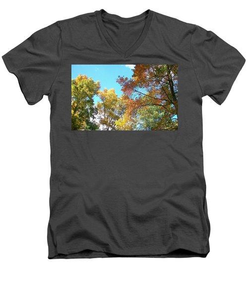 Men's V-Neck T-Shirt featuring the photograph Autumn's Vibrant Image by Pamela Hyde Wilson