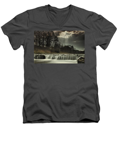 Men's V-Neck T-Shirt featuring the photograph Aysgarth Falls Yorkshire England by John Short