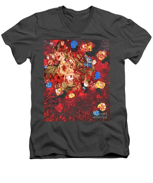 Men's V-Neck T-Shirt featuring the painting Baba's Garden Lg by Alys Caviness-Gober