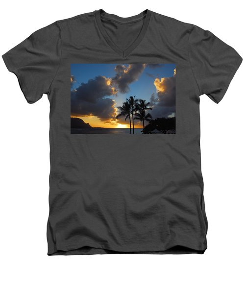 Men's V-Neck T-Shirt featuring the photograph Bali Hai Sunset by Lynn Bauer