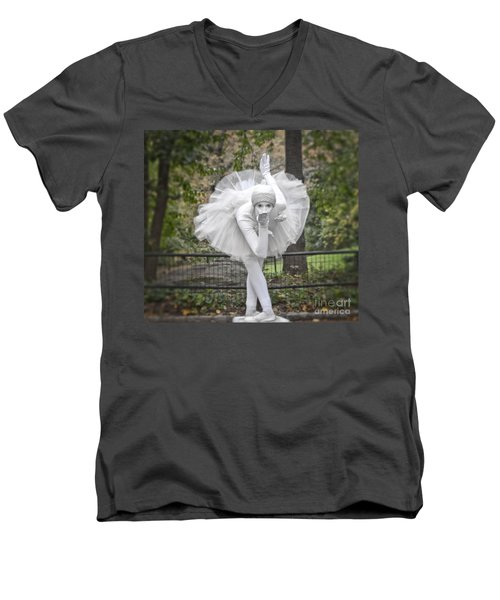 Ballerina In The Park Men's V-Neck T-Shirt by Loriannah Hespe
