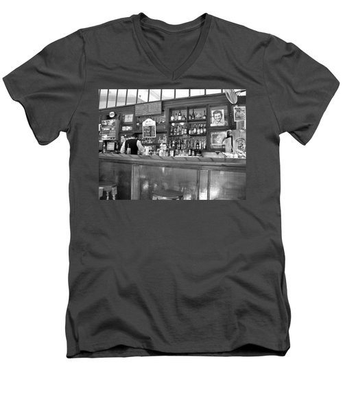 Men's V-Neck T-Shirt featuring the photograph Bar In Old Havana by Lynn Bolt